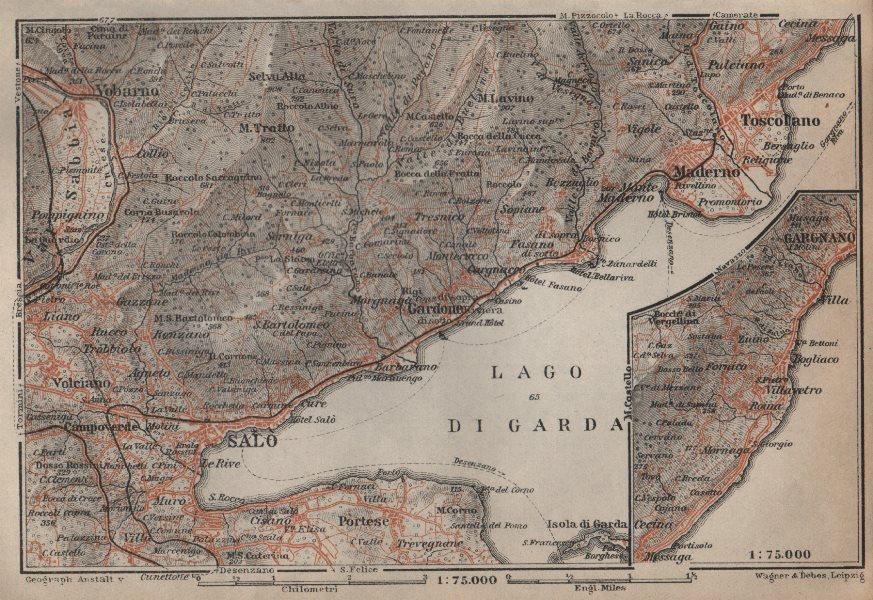 Associate Product SALO MADERNO GARGNANO environs. Lago di/Lake Garda. Brescia. BAEDEKER 1913 map
