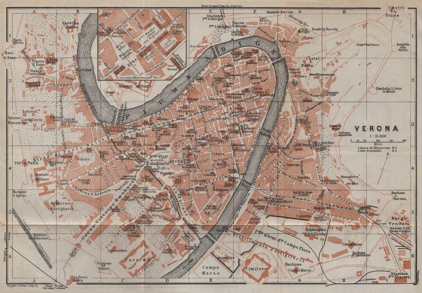 Associate Product VERONA antique town city plan piano urbanistico. Italy mappa. BAEDEKER 1913