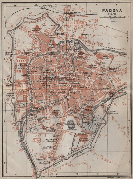 Associate Product PADOVA PADUA antique town city plan piano urbanistico. Italy mappa 1913