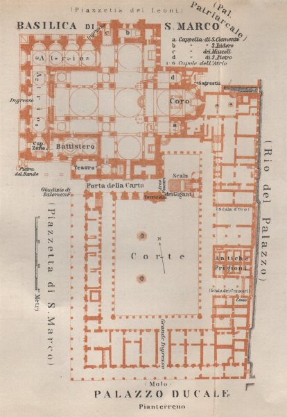Associate Product St Mark's BASILICA SAN MARCO. PALAZZO DUCALE Doge's palace plan Venice 1913 map