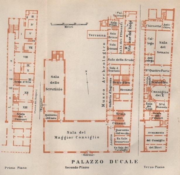 Associate Product PALAZZO DUCALE. Doge's palace floor plan. Venice Venezia mappa. SMALL 1913