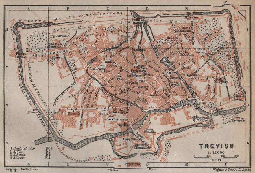 Associate Product TREVISO antique town city plan piano urbanistico. Italy mappa 1913 old