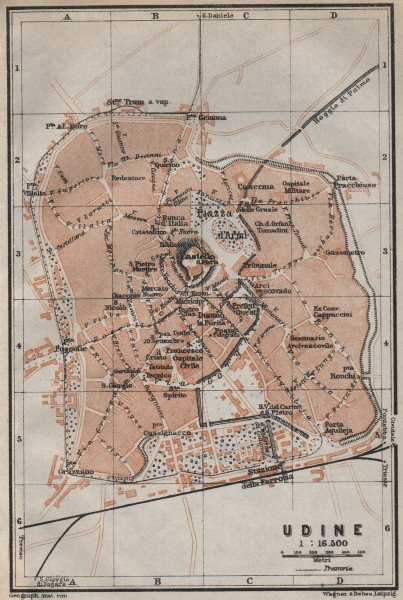 Associate Product UDINE antique town city plan piano urbanistico. Italy mappa. BAEDEKER 1913