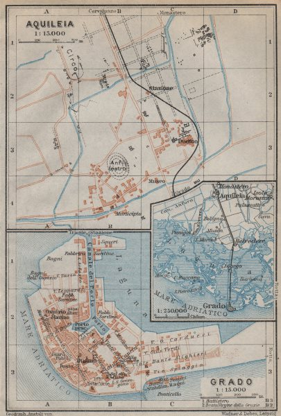 Associate Product GRADO & AQUILEIA antique toen city plan piano urbanistico. Italy mappa 1913