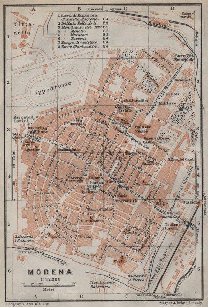 Associate Product MODENA antique town city plan piano urbanistico. Italy mappa. BAEDEKER 1913