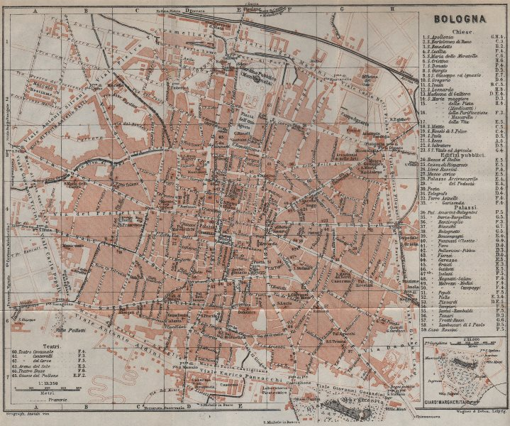 Associate Product BOLOGNA antique town city plan piano urbanistico. Italy mappa 1913 old