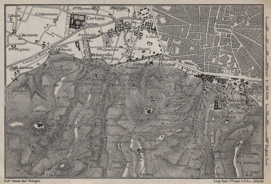 Associate Product BOLOGNA environs. Certosa. Madonna di San Luca. Santo Michele in Bosco 1913 map