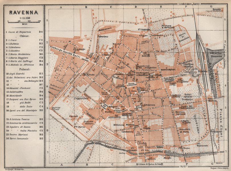 Associate Product RAVENNA antique town city plan piano urbanistico. Italy mappa 1913 old
