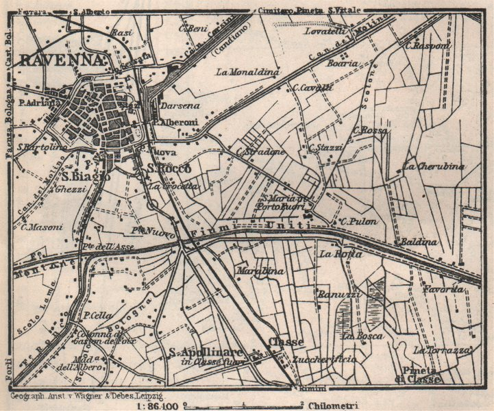 Associate Product RAVENNA environs contorni. Ponte Nuovo. Italy mappa. BAEDEKER. SMALL 1913