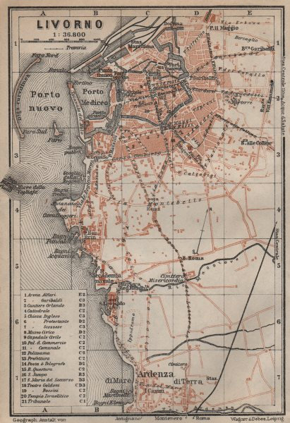 Associate Product LIVORNO antique town city plan piano urbanistico. Italy mappa 1913 old