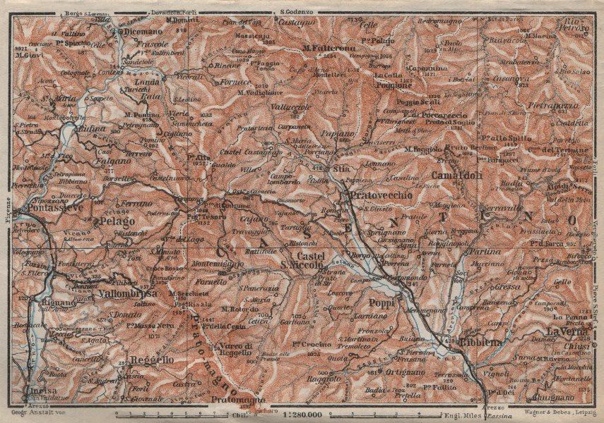 Associate Product VALLOMBROSA & CAMALDOLI environs. Reggello Casentino. Topo-map. Italy 1913