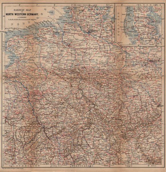 Associate Product NORTH WEST GERMANY Railways. Nord Deutschland eisenbahnen karte 1904 old map