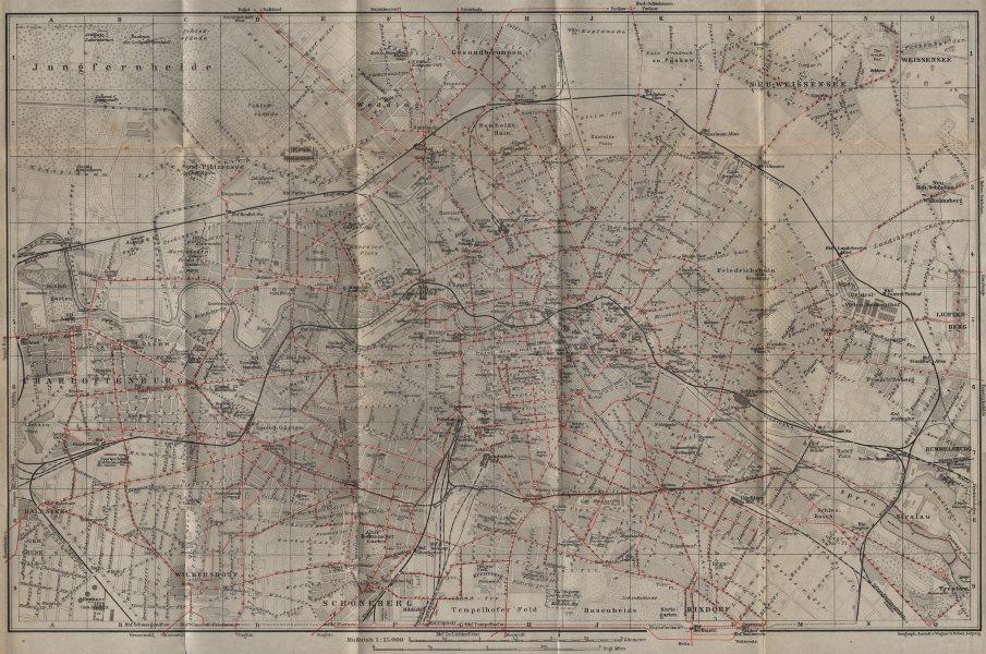 Associate Product BERLIN STRAßENBAHNNETZ. Tramway network. town city stadtplan karte 1904 map