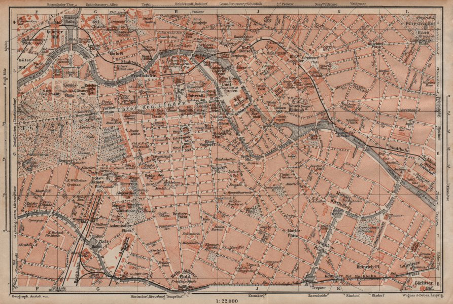 Associate Product BERLIN CITY CENTRE town stadtplan Public buildings Öffentliche Gebäude 1904 map