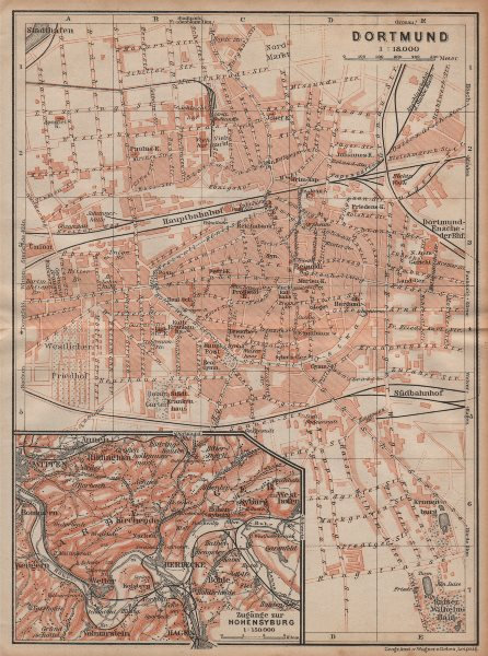Associate Product DORTMUND town city stadtplan & Hohensyburg. Northrhine-Westfalia karte 1904 map