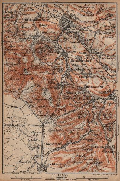 Associate Product DETMOLD & TEUTOBURGER WALD/Forest topo-map. Northrhine-Westfalia karte 1904