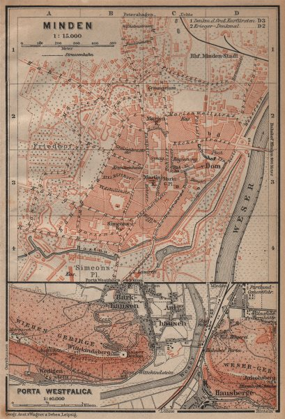 Associate Product MINDEN antique town city stadtplan. Porta Westfalica. Germany. BAEDEKER 1904 map