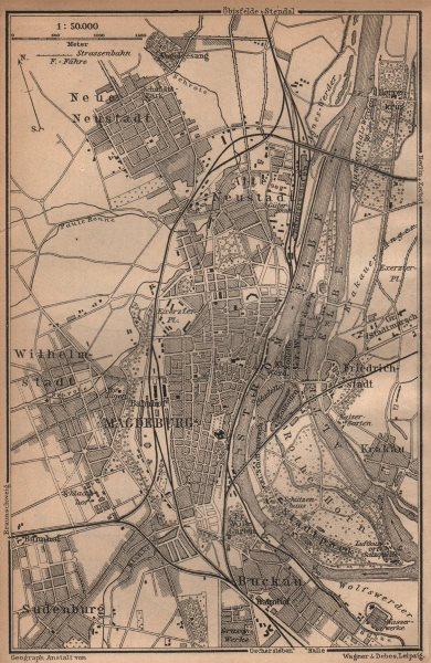 Associate Product MAGDEBURG town city stadtplan & environs/umgebung. Saxony-Anhalt karte 1904 map