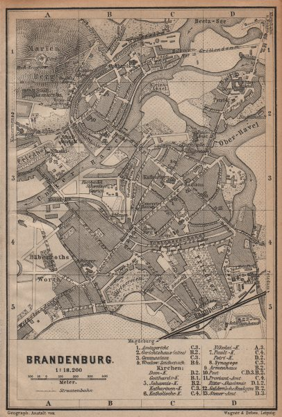 Associate Product BRANDENBURG AN DER HAVEL vintage town city stadtplan. Berlin karte 1904 map