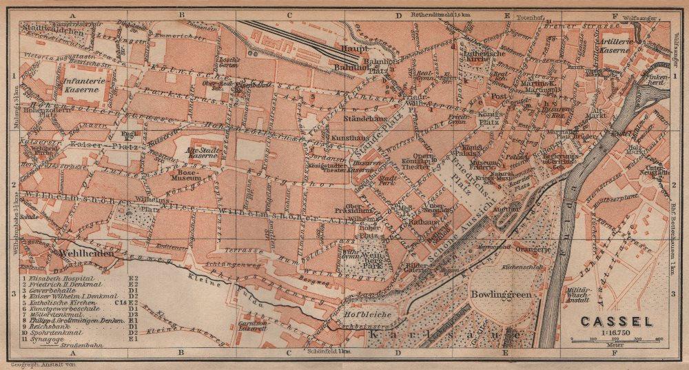 Associate Product KASSEL CASSEL antique town city stadtplan. Hesse. Germany karte 1904 old map