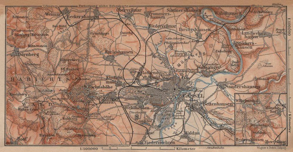 Karte Kassel Und Umgebung.Details About Kassel Cassel Environs Umgebung Hessen Germany Karte 1904 Old Antique Map