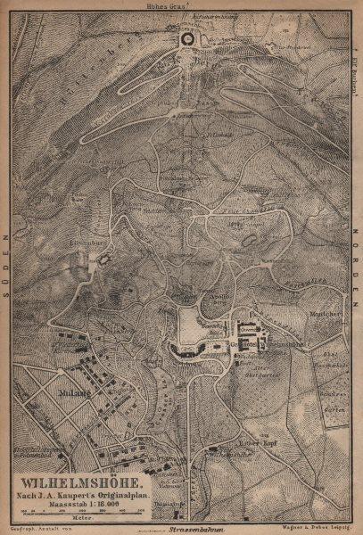 Associate Product BERGPARK WILHELMSHÖHE. Kassel, Deutschland. Kaupert karte. BAEDEKER 1904 map