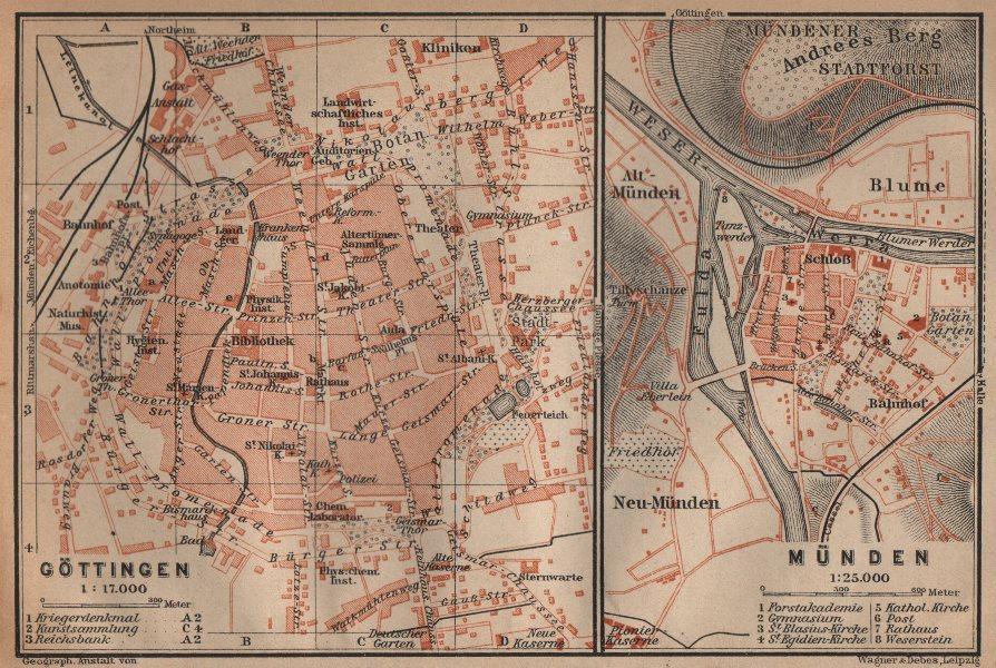 Associate Product GÖTTINGEN & MÜNDEN antique town city stadtplans. Lower Saxony. BAEDEKER 1904 map