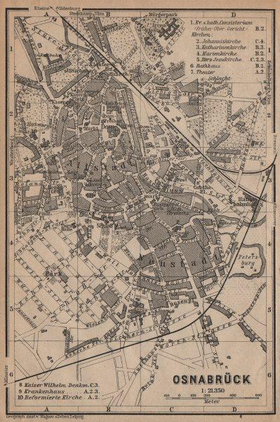 Associate Product OSNABRÜCK antique town city stadtplan. Lower Saxony karte. BAEDEKER 1904 map