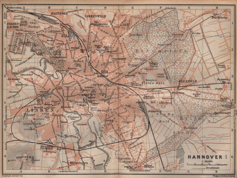 Associate Product HANNOVER antique town city stadtplan I. Hanover. Lower Saxony karte 1904 map
