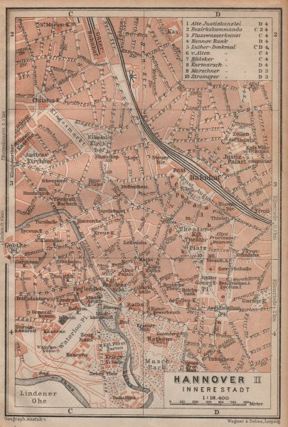 HANNOVER INNERE STADT town city plan II. Hanover. Lower Saxony karte 1904 map