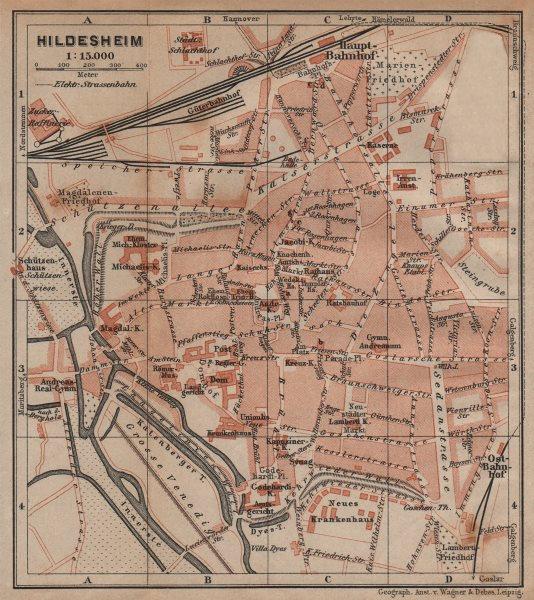 Associate Product HILDESHEIM antique town city stadtplan. Lower Saxony karte. BAEDEKER 1904 map
