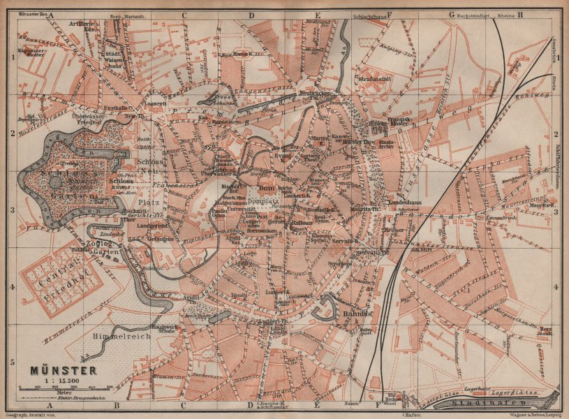 Associate Product MÜNSTER antique town city stadtplan. Northrhine-Westfalia karte 1904 old map