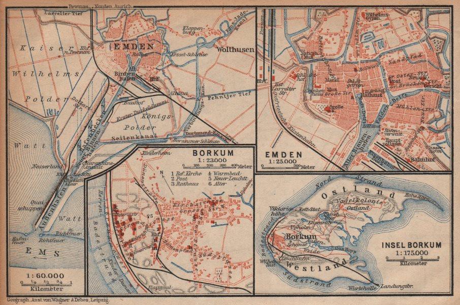 Associate Product Insel BORKUM & EMDEN antique town city plan stadtplan. Lower Saxony 1904 map