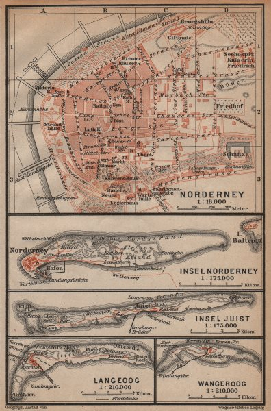 Associate Product EAST FRISIAN ISLANDS. Ostfriesische Inseln Norderney Juist Langeoog 1904 map