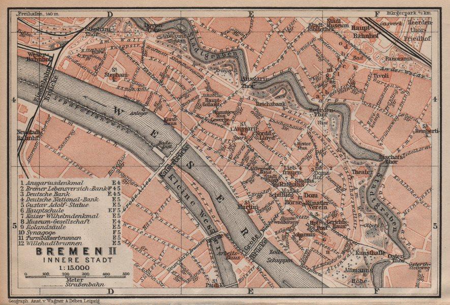 Associate Product BREMEN antique town cityplan II. Innere Stadt karte. BAEDEKER 1904 old map