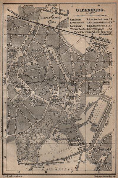 Associate Product OLDENBURG antique town city stadtplan. Lower Saxony karte. BAEDEKER 1904 map