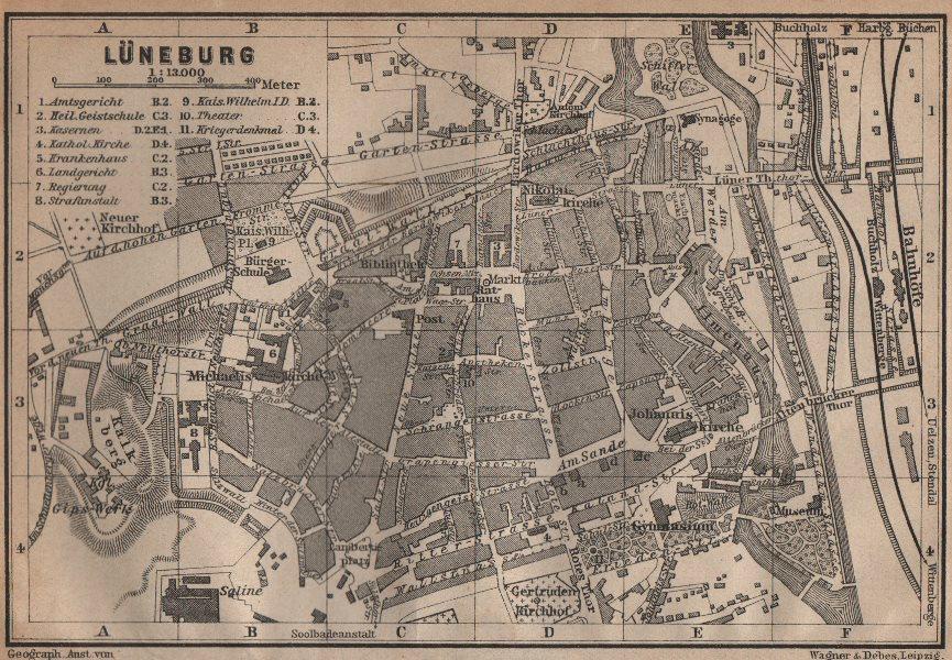 Associate Product LÜNEBURG antique town city stadtplan. Lunenburg. Lower Saxony karte 1904 map