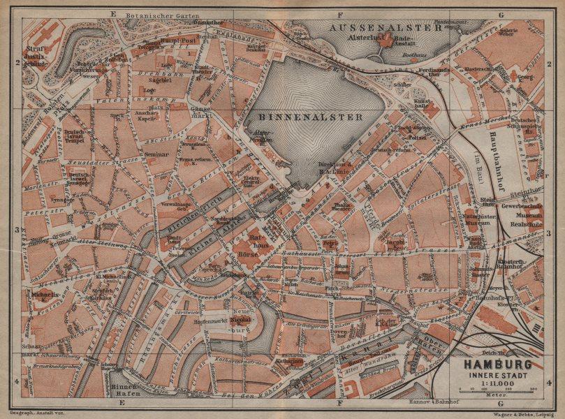 Associate Product HAMBURG antique town city plan. Innere Stadt. Binnenalster karte 1904 old map