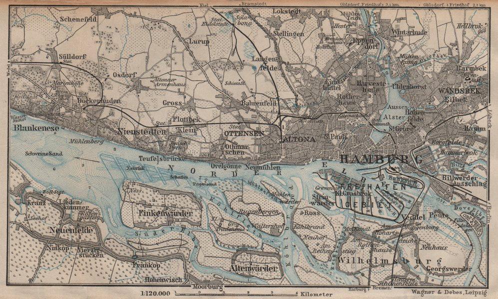 Associate Product HAMBURG western environs/umgebung. Altona Ottensen Blankenese karte 1904 map