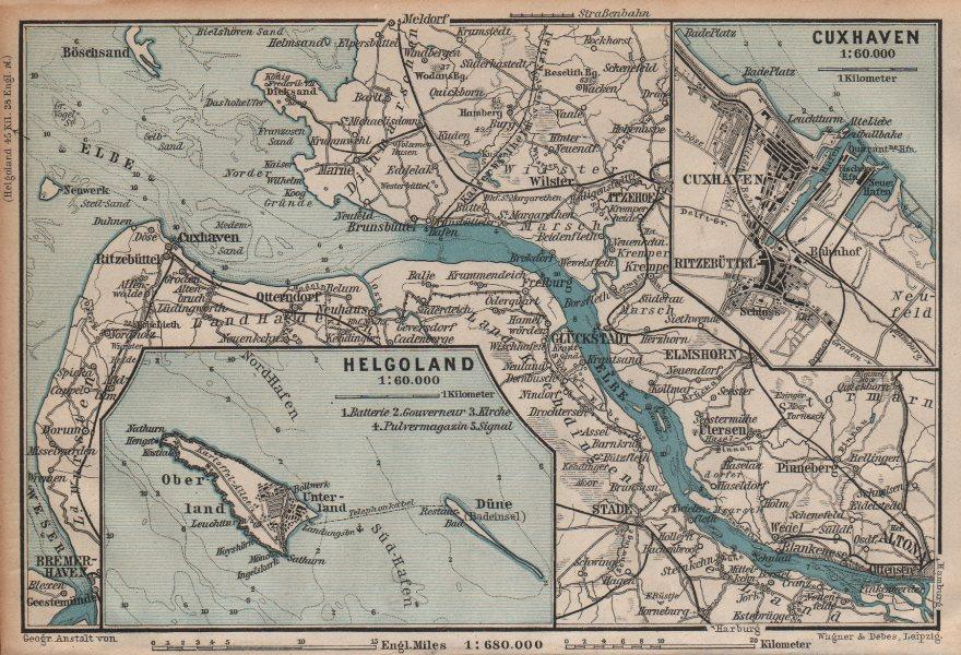 Associate Product ELBMÜNDUNG. Elbe estuary. Helgoland Heligoland Cuxhaven plans. Altona 1904 map