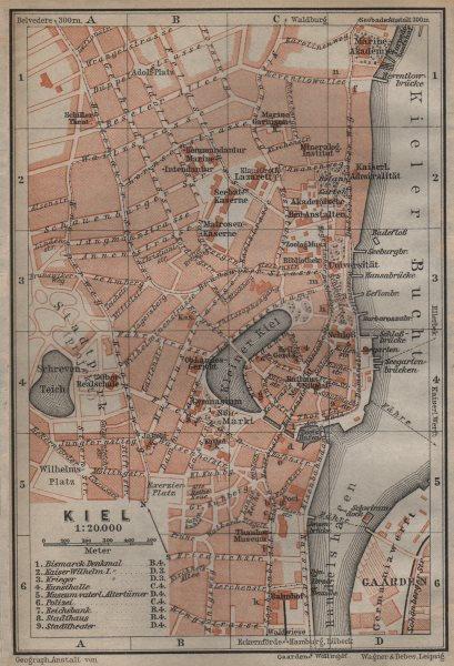 Associate Product KIEL antique town city stadtplan. Schleswig-Holstein karte. BAEDEKER 1904 map