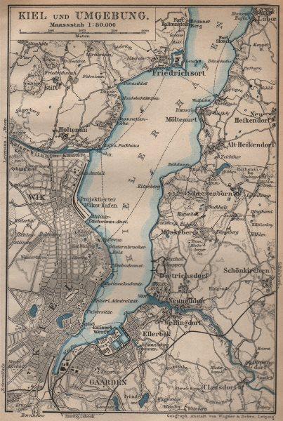 Associate Product KIEL & umgebung. KIELER FÖRDE/Hafen. Friedrichsort. Schleswig-Holstein 1904 map