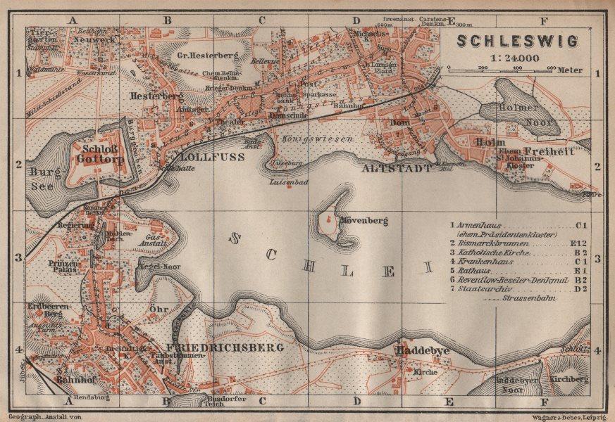 Associate Product SCHLESWIG town city stadtplan Lollfuss Friedrichsberg Slesvig Gottorp 1904 map