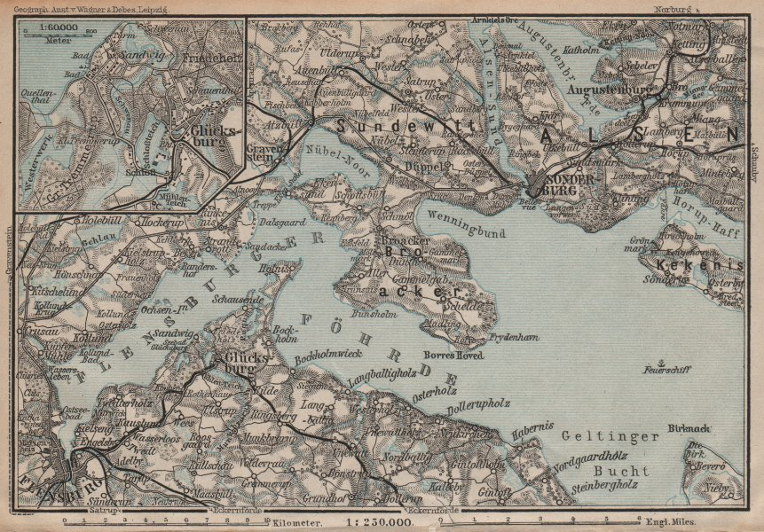 Associate Product FLENSBURGER FÖRDE FLENSBORG FJORD/Firth. Sonderborg Schleswig-Holstein 1904 map