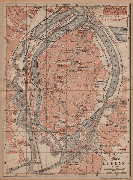 Associate Product LÜBECK antique town city stadtplan. Schleswig-Holstein karte. BAEDEKER 1904 map