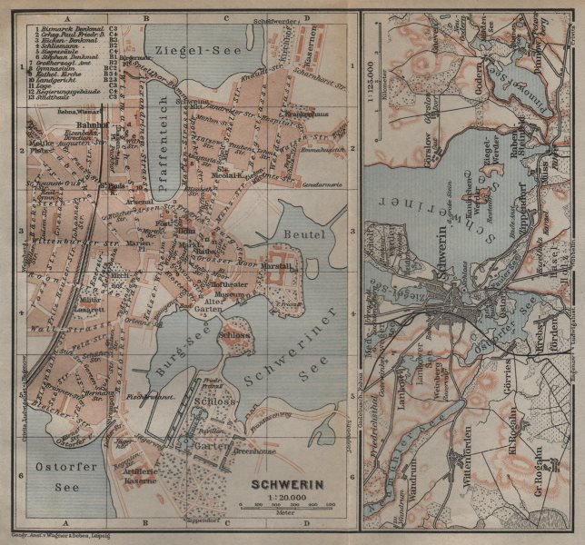 Associate Product SCHWERIN antique town city stadtplan. Mecklenburg-Vorpommern karte 1904 map