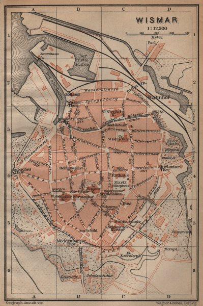 Associate Product WISMAR antique town city stadtplan. Mecklenburg-Vorpommern karte 1904 old map