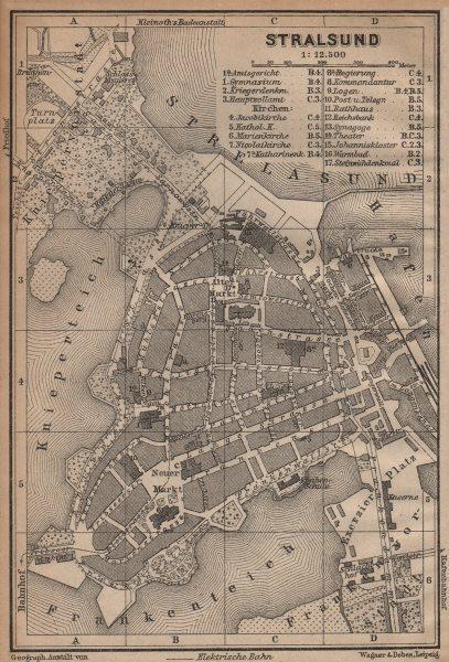 Associate Product STRALSUND antique town city stadtplan. Mecklenburg-Vorpommern karte 1904 map