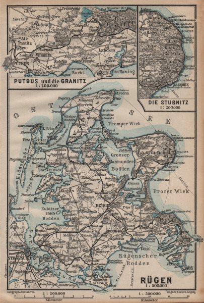 Associate Product RÜGEN. Stralsund Bergen. Rugen Putbus Granitz Stubnitz. Germany 1904 old map