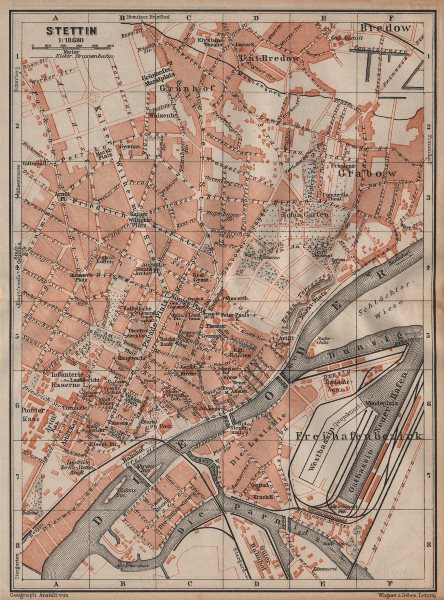 Associate Product STETTIN SZCZECIN antique town city plan miasta. Poland mapa. BAEDEKER 1904